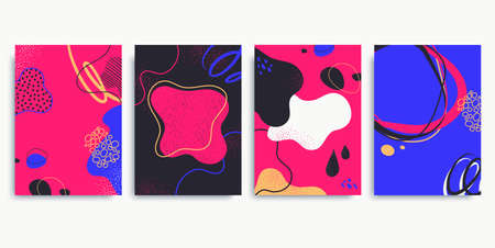 Collection of colorful contemporary backgrounds in neon colors. Abstract posters with doodle elements, liquid shapes, lines. Trendy hand drawn style. Applicable for social media post, blog, banner. 矢量图像