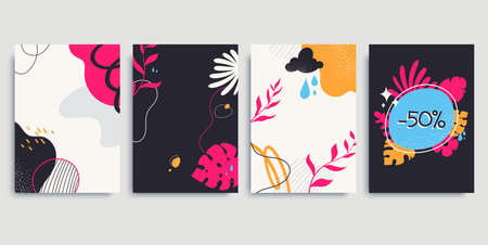 Collection of colorful contemporary backgrounds in A4 size. Abstract posters with floral elements, liquid shapes, lines. Trendy hand drawn style. Applicable for social media post, blog, banner. 矢量图像