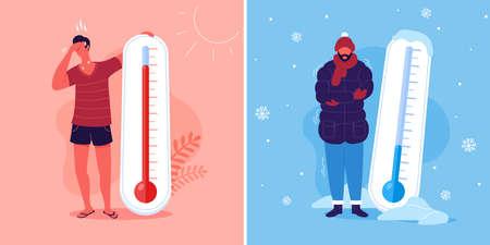 Meteorologische Thermometer. Hitze- und Kältevektorillustration. Zeichentrickfiguren in der Sommer- und Wintersaison. Vektorgrafik