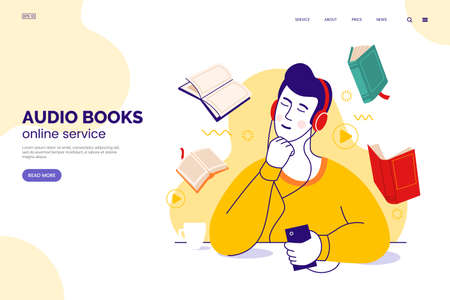 Audiobook service web page concept. Character in headphones listens to audio books from a smartphone. Internet library. Learning foreign languages. Online education. Vector illustration in flat style. 矢量图像