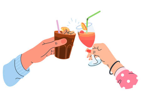 Two hands clinking glasses with cocktail isolated on white background. Cocktail party vector illustration in modern flat style. Alcoholic drinks in glasses with a straw. Summer cold drinks. 矢量图像