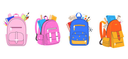 Collection of colorful school bags for boys and girls. Backpack full of stationery objects vector illustration in flat cartoon style. Back to school. Element for your design.