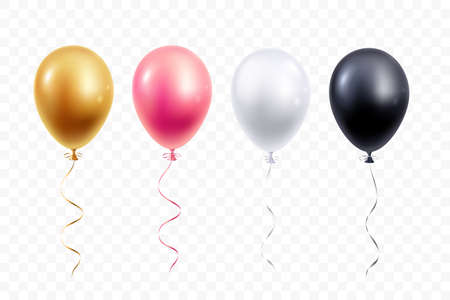 Realistic balloons collection isolated on transparent background. Gold, pink, white and black helium balloon with ribbon. Design element for party, grand open, wedding, etc. Vector illustration. Illustration