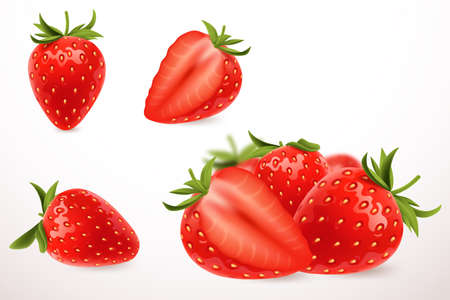 Realistic strawberry in 3d style. Fresh ripe strawberry isolated on white background. Sweet berry. Applicable for fruit juice advertising. Vector illustration.