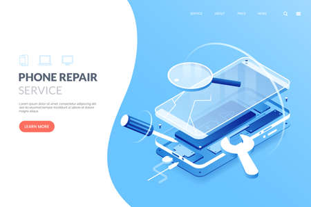 Smartphone repair service vector illustration. Disassembled smartphone in isometric view. Mobile phone repair process. Fix gadgets web banner concept. 矢量图像