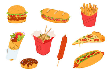 Fast food set vector illustration. Street food menu - burger, sandwich, french fries, doner kebab, noodles, donut, sausage, hot dog and a slice of pizza. Takeaway meals isolated on white.