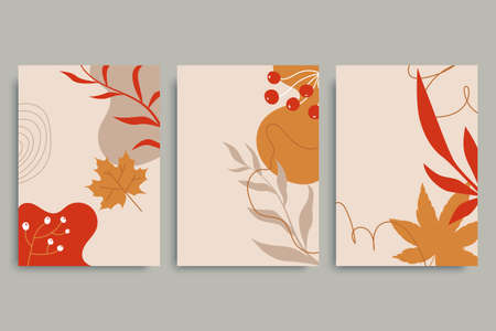 Colorful autumn backgrounds in vintage style. Autumn banner collection. Minimal composition with plants, fallen leaves, flowers. Use for invitation, print design, discount voucher, ad. 矢量图像