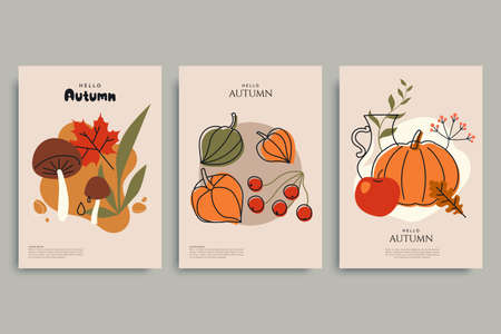 Colorful autumn illustrations in vintage style. Autumn background collection. Composition with harvest, mushrooms, fallen leaves, berries and autumn flowers. Use for invitation, print design, card.