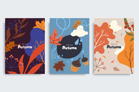 Autumn background collection in different styles. Abstract illustration with autumn forest, fallen leaves, colorful foliage. Use for event invitation, print design, discount voucher, ad.