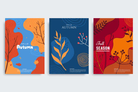 Autumn background collection in different styles. Abstract banners with autumn forest, fallen leaves, colorful foliage. Use for event invitation, print design, discount voucher, ad.