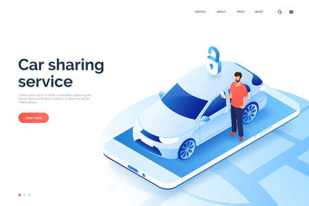 Car sharing service isometric illustration. A man with smartphone standing next to a carsharing auto. Vehicle rental via mobile app. City transport. Design element for your business. 矢量图像