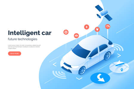 Smart car technology illustration, isometric style. Vehicle GPS satellite navigation system. Autonomous car scans the space and road around it. Condition monitoring system of auto.