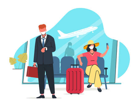 Air travel after the pandemic vector illustration. People wearing protective masks are waiting for a flight at the airport. Maintaining social distance in a public place. Modern flat style. 矢量图像