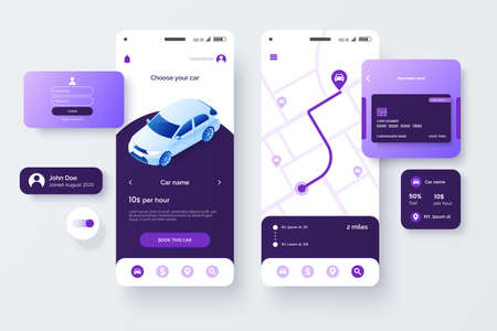 Car share service mobile application template. UI, UX, GUI design elements. User Interface kit isolated on grey background. Car sharing app.
