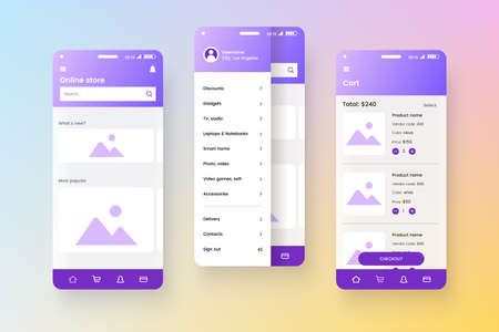Conceptual mobile phone screen mock-up for application interface presentation. User interface design template. UI, UX, GUI concept isolated on colorful gradient background. Online store app.