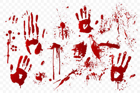 blood stain and bloody hand prints isolated on transparent background. Red paint splashes. Crime scene. Vampire bite. Halloween decoration element. Horror backdrop.