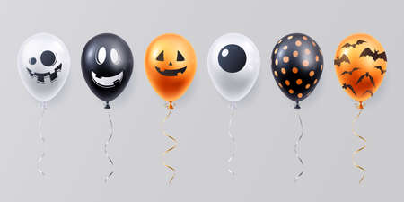 Collection of funny halloween balloons with spooky face. White, black and orange balloon set. Decoration element for halloween celebration. 矢量图像