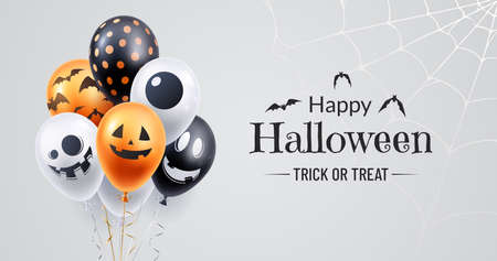 Happy halloween banner design. Halloween background with a bunch of helium balloons and spooky spiderweb in the corner. Use for party invite, greeting card, sales announcement.