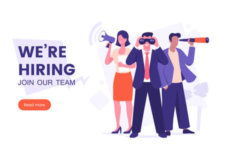 Were hiring banner design. Office workers looking for a new employee. Job offer. Join our team poster. Vacancy banner template. Recruitment process. HR team vector illustration. Vecteurs