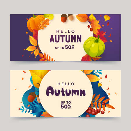 Autumn banner design with colorful background of fallen red-orange leaves, acorn, and ripe pumpkin. Promo sale poster with autumn frame. Vector illustration 矢量图像