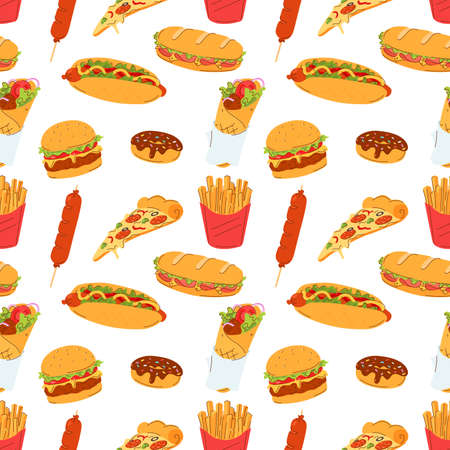 Seamless pattern with street fast food. Burger, sandwich, french fries, donner kebab, noodles, donut, sausage, hot dog and a slice of pizza. Use for poster, t-shirt print, textile, wrapping paper. 矢量图像