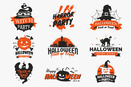 Set of Halloween badges and labels isolated on white background. Vintage Halloween signs with lettering, ribbons, spooky ghosts, pumpkin, witch cauldron, icons and other elements. Vector illustration.