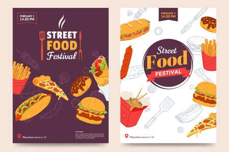 Street food festival poster design. Fast food banner design with burger, sandwich, french fries, donner kebab, noodles, donut, sausage, hot dog and a slice of pizza. Vector illustration.