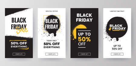 Black Friday sale social media stories template collection. Sale banners design in grunge style. Backgrounds for mobile app screen with graffiti paint splashes.