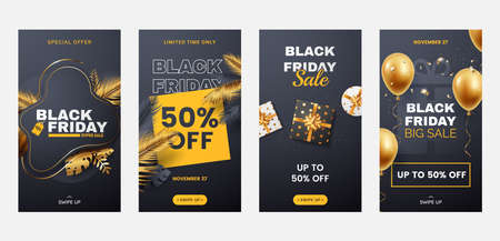 Black Friday stories template collection. Sale banners set for social media, mobile apps. Design of promo banners in black and gold luxury style with decoration elements.
