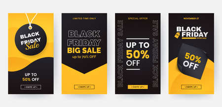Black friday stories template for social media and mobile app. Sale web banners with geometric shapes in black and yellow colors. Discount flyers design in minimal style. 矢量图像