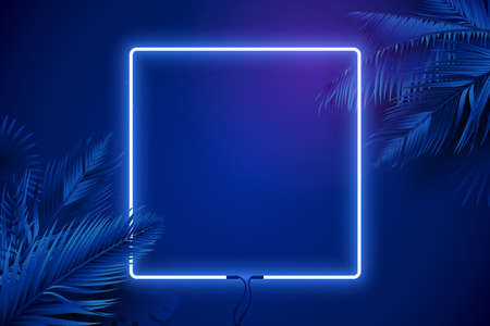 Blue neon square frame surrounded by palm branches. Glowing neon border. Vector background in synthwave style. Luxury banner design. Eps 10 矢量图像