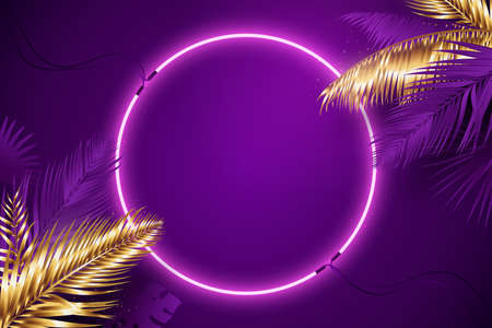 Purple neon frame surrounded by golden and violet tropical palm branches. Glowing neon round border. Vector background in synthwave style. Luxury banner design. Eps 10