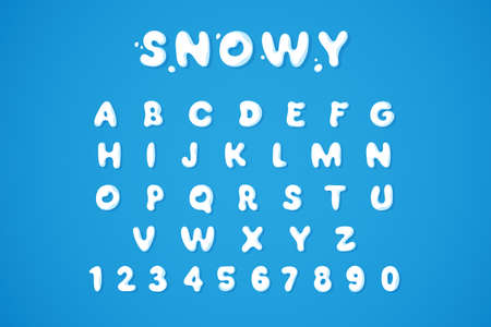 Snowy winter font isolated on blue background. White snow alphabet in bubble style. Ice letters and numbers. Applicable for Christmas and winter season design. Vector illustration 矢量图像
