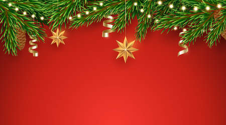 Vector fir tree border with a garland of light bulbs and hanging Christmas decorations. Horizontal red background with pine branches border. Traditional Xmas decor. Design element for winter holidays. 矢量图像