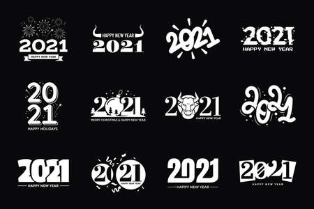 Set of 2021 Happy New Year signs. 2021 text typography design collection in different styles. Black and white colors. Applicable for calendar, invitation, web banners, prints, greeting card. 矢量图像