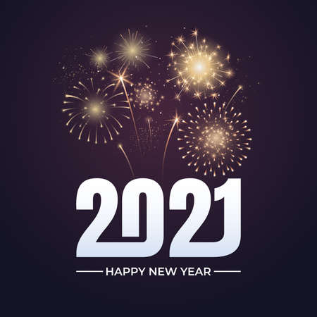 Happy New Year 2021 greeting card design. 2021 text with festive fireworks explosions isolated on dark background. Congratulation banner. Vector illustration. Illusztráció