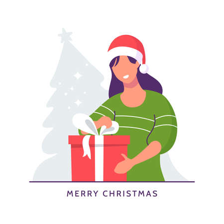 Happy girl wearing santa claus hat opens gift box with red bow. Smiling woman with surprise box. Celebrating Christmas. Boxing day illustration. Flat style. Vector eps 10.