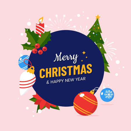 Merry Christmas and Happy New Year greeting card design design in flat cartoon style. Round composition with fir tree, holly, christmas balls and falling snow. Xmas postcard .Vector illustration. 矢量图像