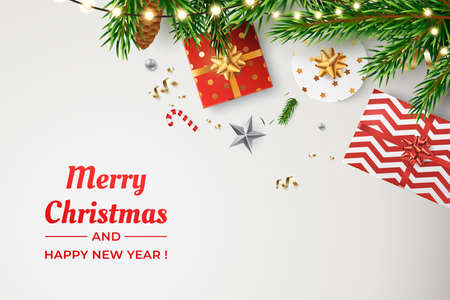 Christmas vector background. Composition of realistic spruce branches, golden confetti, glowing garlands and gift boxes. Merry Christmas and Happy New Year greeting card design. Flat lay, top view. 矢量图像