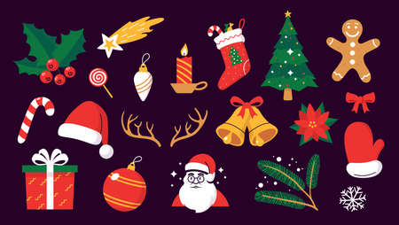 Collection of colorful Christmas objects in flat cartoon style. Christmas holiday symbols isolated on dark background. Traditional Xmas decor elements. Vector illustration.