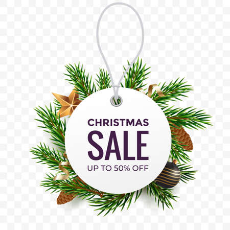 White round price tag against the background of fir branches with Christmas decorations. Christmas sale promo label. Discount banner design for winter holidays. Vector illustration