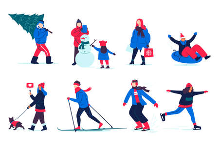 People spend time outside in winter. Illustration of winter activities - snowman modeling, skiing and skating, shopping, walking, etc.  Isolated on white.