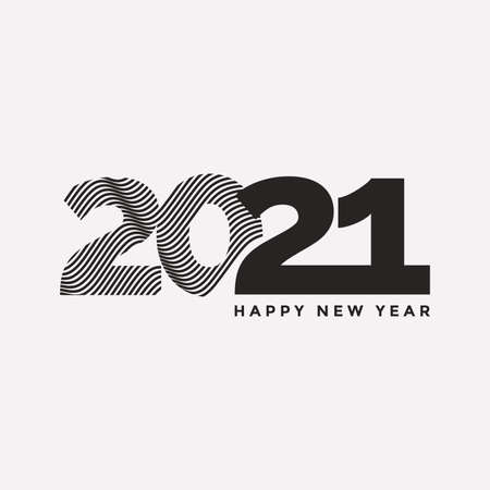 2021 Happy New Year emblem design in minimalistic style. 2021 icon. Element for greeting card, postcard, festive poster. Vector illustration