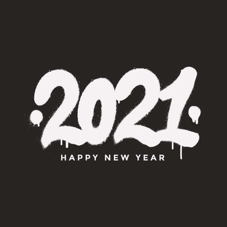 2021 Happy New Year calligraphy lettering composition in graffiti style. New Year greeting card design. Festive handwritten lettering with spray paint effect. Vector illustration. Ilustração