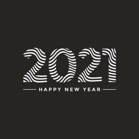 2021 Happy New Year emblem design in minimalistic style with wavy effect. 2021 icon. Element for greeting card, postcard, festive poster. Vector illustration