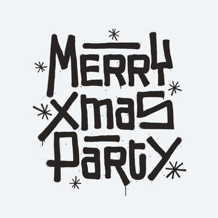 Merry Xmas Party calligraphy lettering composition in graffiti style. Merry Christmas party invitation design element. Festive hand drawn lettering with spray paint effect. Vector illustration.