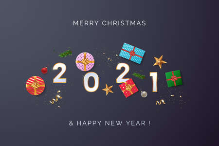 Happy new year 2021 greeting card design concept. White 2021 text with scattered Christmas gift boxes, golden confetti, xmas balls. Top view. Black background. Vector illustration