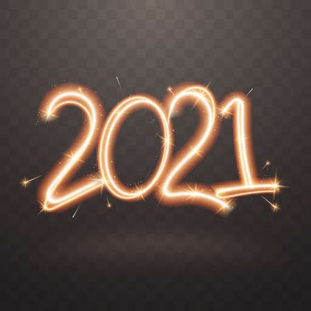 2020 sparkler sign. Firework sign with glow flare effect isolated on transparent background. Sparkling symbol of New Year. Applicable for banner, flyer, poster. Vector illustration