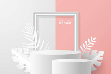 3d round pedestal mockup on white pink backdrop. 3d scene with blank podium, picture frame and tropical plants around. Ideal for cosmetic, packaging and product presentation. Vector eps 10.