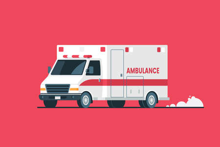 Ambulance car vector illustration. White Ambulance isolated on red background. Emergency medical care transportation. Flat style. Element for your design.